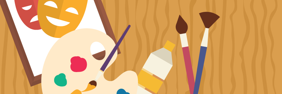Illustration of painting supplies (paint palette and brushes) along with dramatic masks