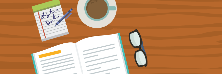 Illustration of book, coffee cup, reading glasses and to-do list on a table