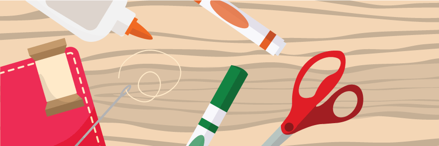 Crafting tools (needle, thread, glue, scissors, markers)