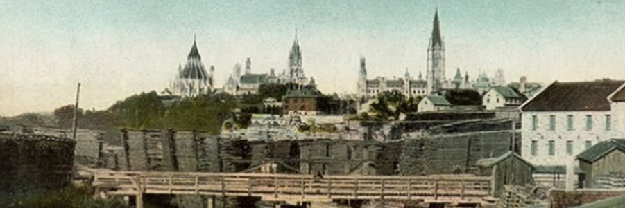 view of Bytown Museum with Parliament Hill in background