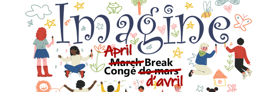 April break program with Imagine as the theme. The image features children of different ethnicities in a circle surrounded by creative activities.