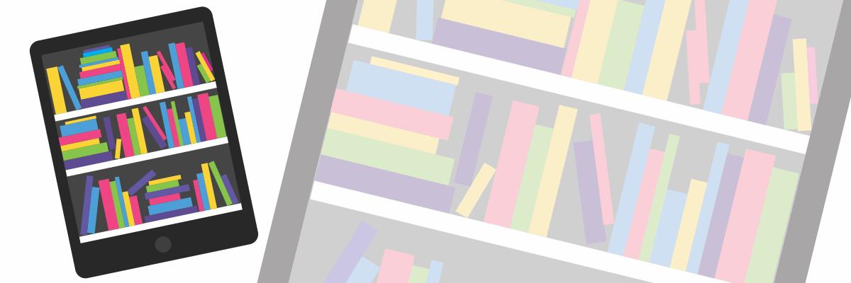 tablet showing a picture of a bookcase full of books/ordinateur avec un image d'un etagere plein des livres