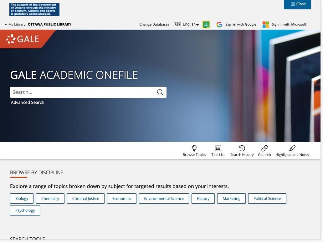 Homepage of Academic OneFile