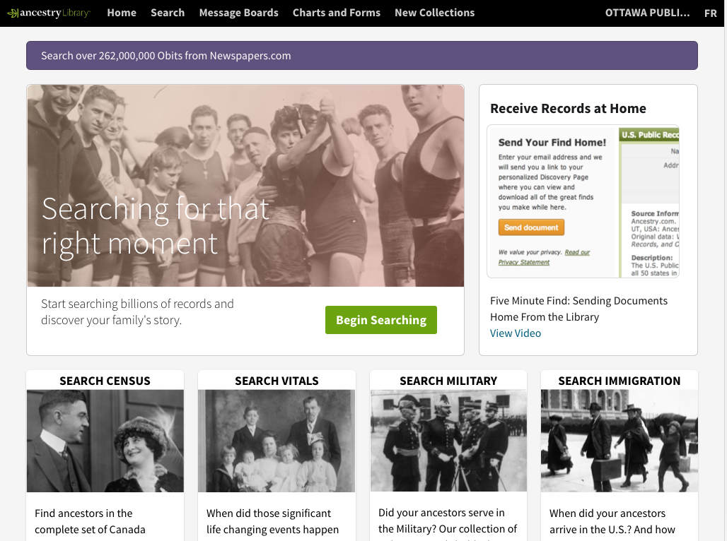 Homepage of Ancestry Library
