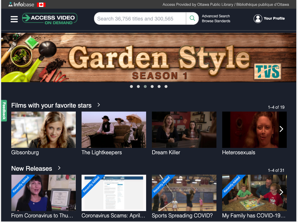 Homepage of Access Video on Demand
