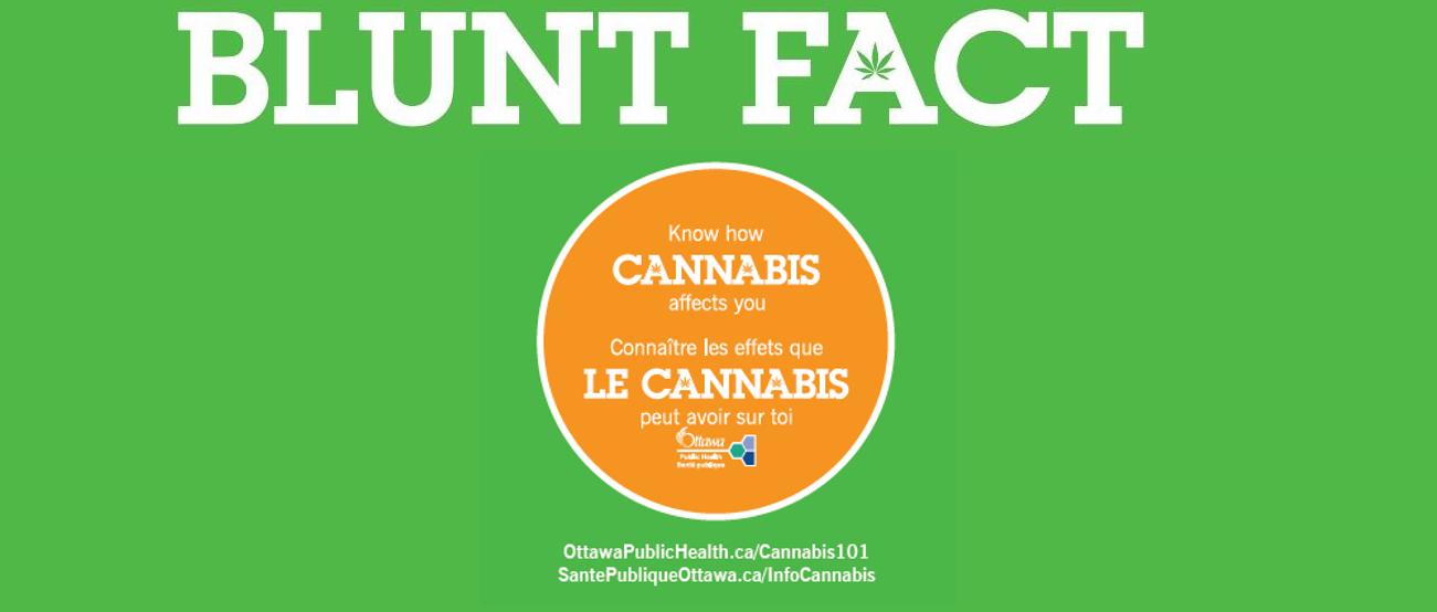 green background with white text: Blunt fact know how cannabis affects you connaître les effets que le cannabis peut avoir sur toi logo Ottawa Public Health