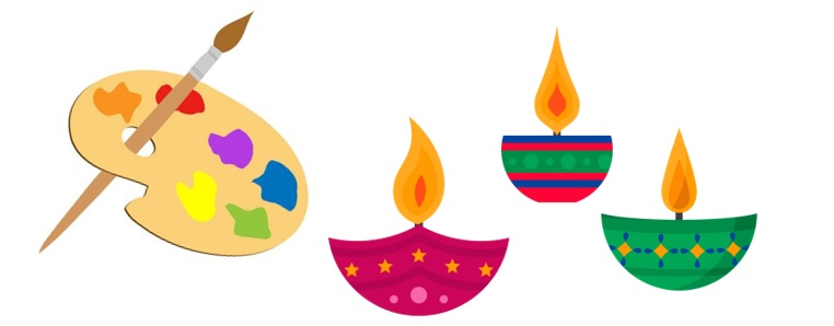 clip art banner of paint pallette and three brightly-painted diya lamps