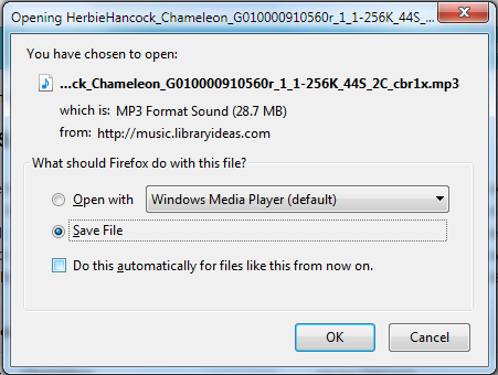 Image of dialogue box prompting to save the MP3 file in Freegal.