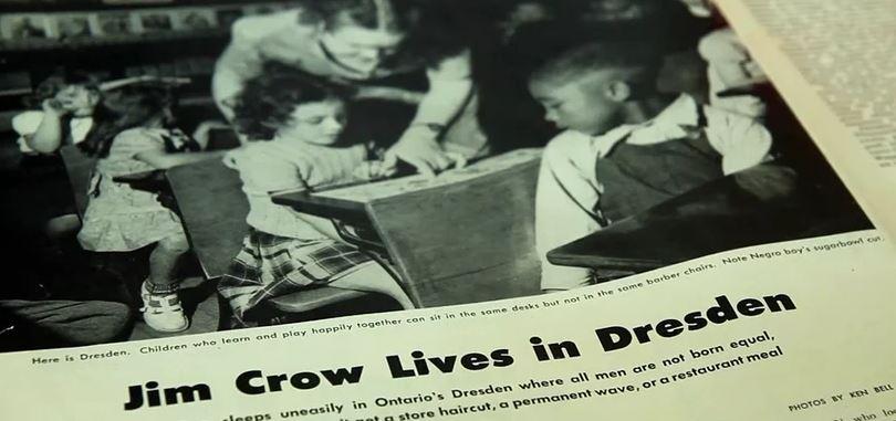 Newspaper photo of classroom in Dresden, Ontario