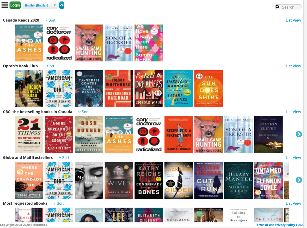 Homepage for Express eBooks: CloudLibrary