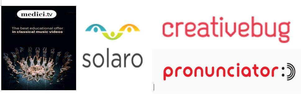 logos for four new databases: Medici.tv, SOLARO, Pronunciator and Creativebug