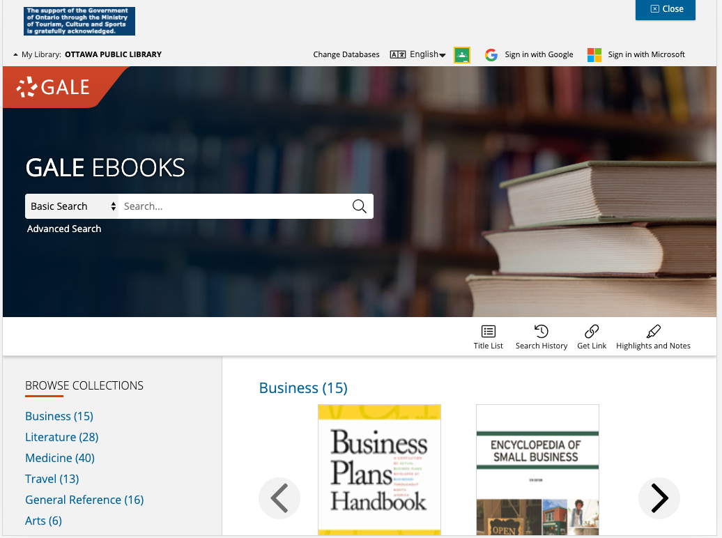 Homepage for Gale Ebooks