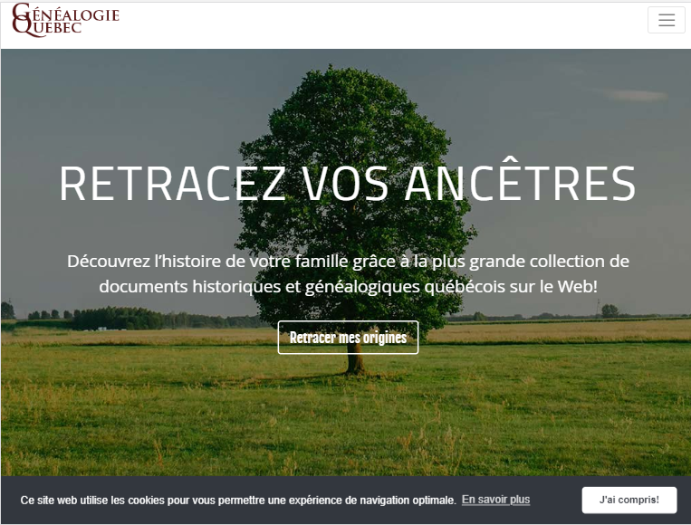 Homepage of Généology Québec