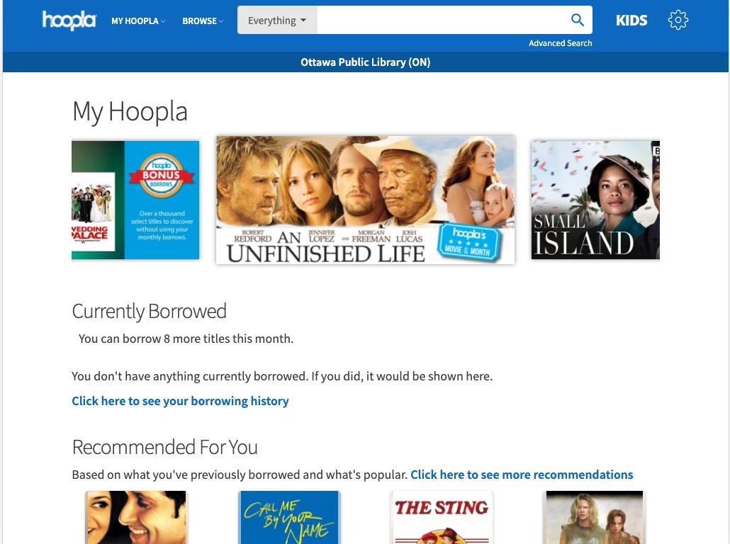 Homepage for Hoopla