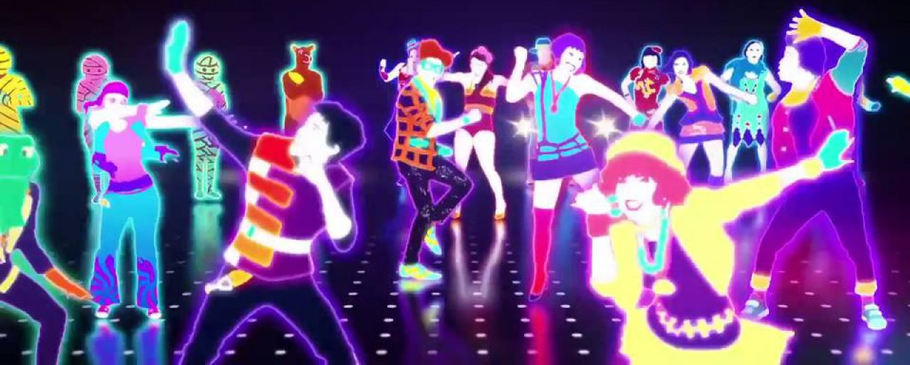 many Just Dance avatars in fluorescent colours dancing in a dark room