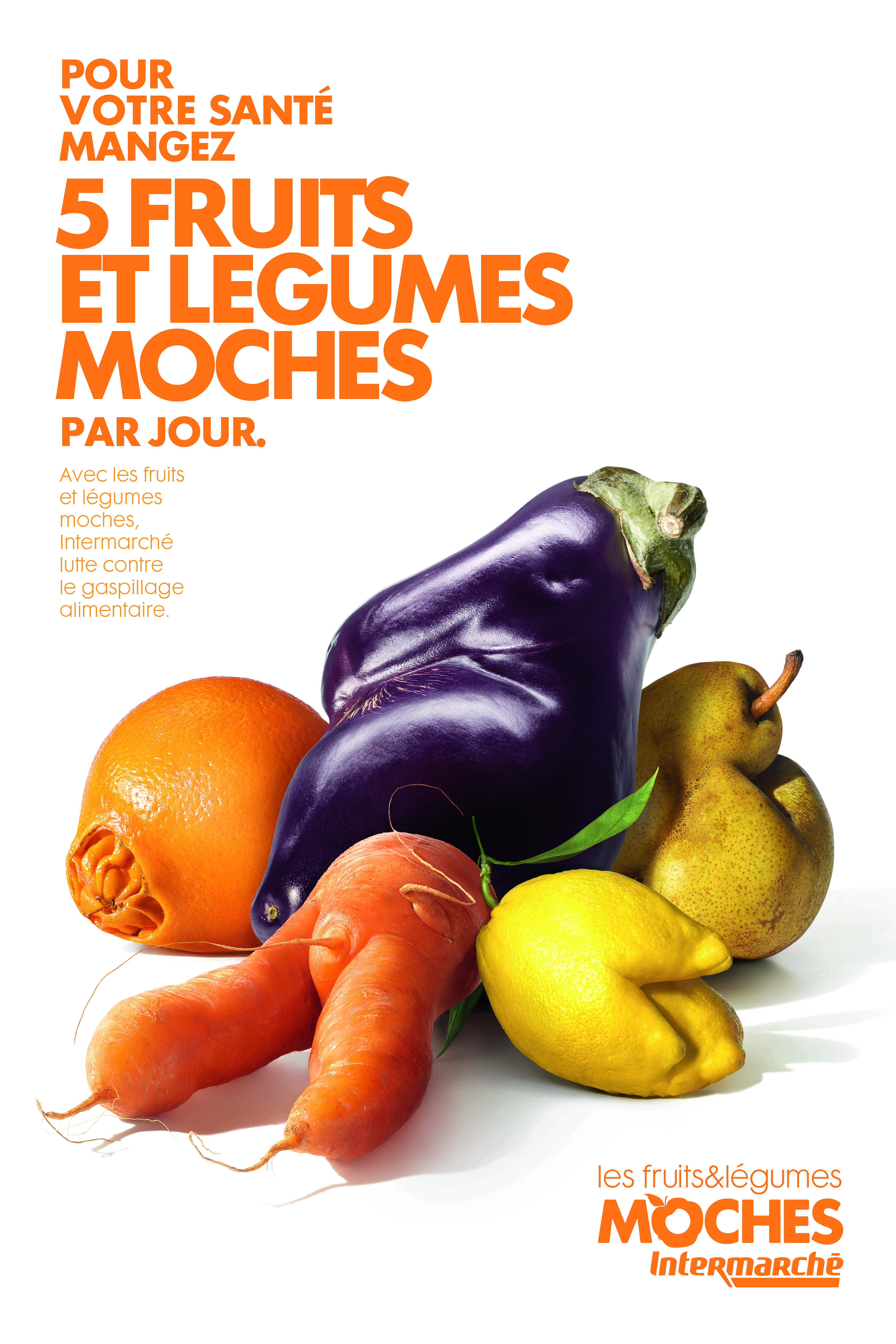 Publicité affichant 5 fruits et légumes moches, créée par l'épicerie française Intermarché