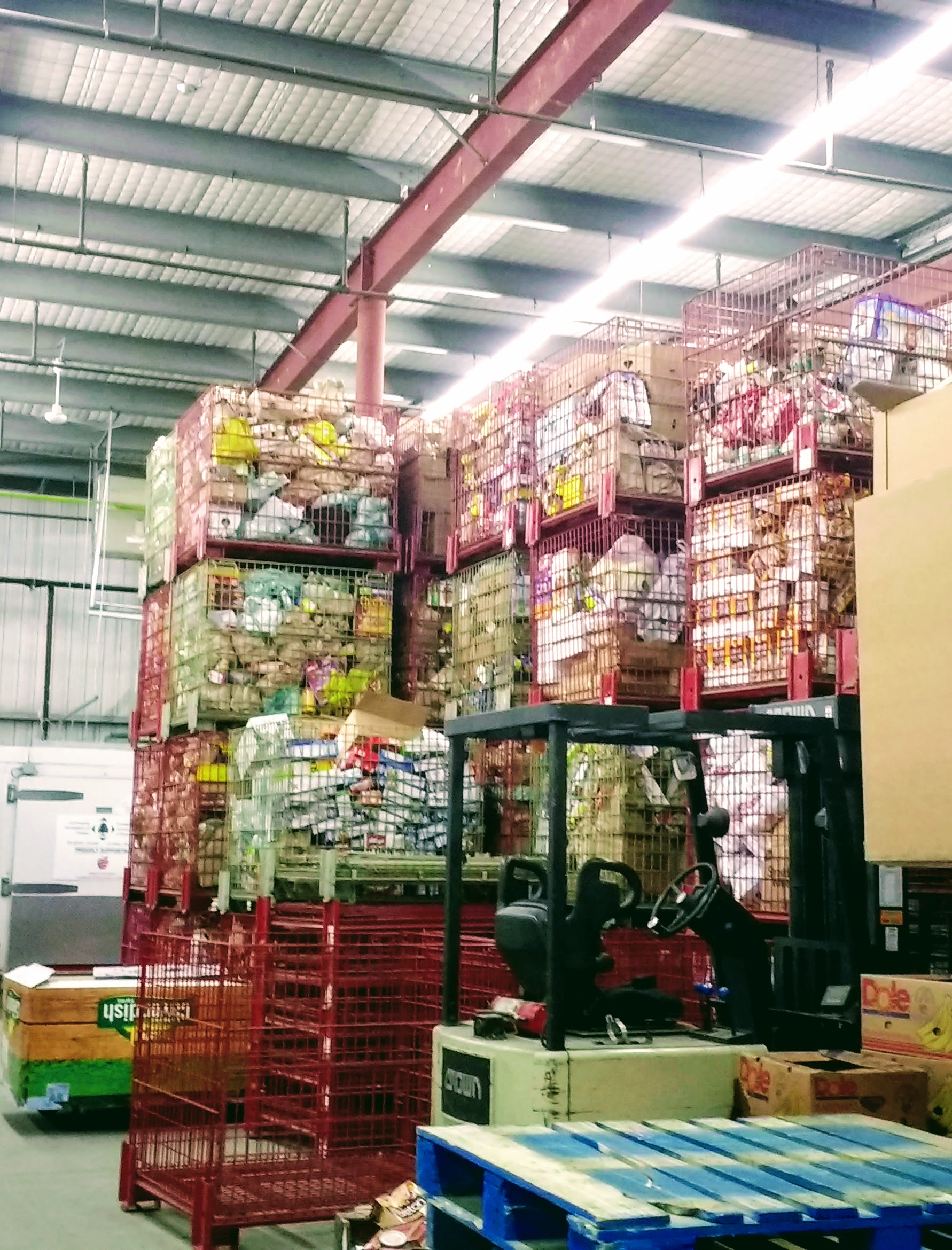 Ottawa Food Bank warehouse bins of non-perishable food