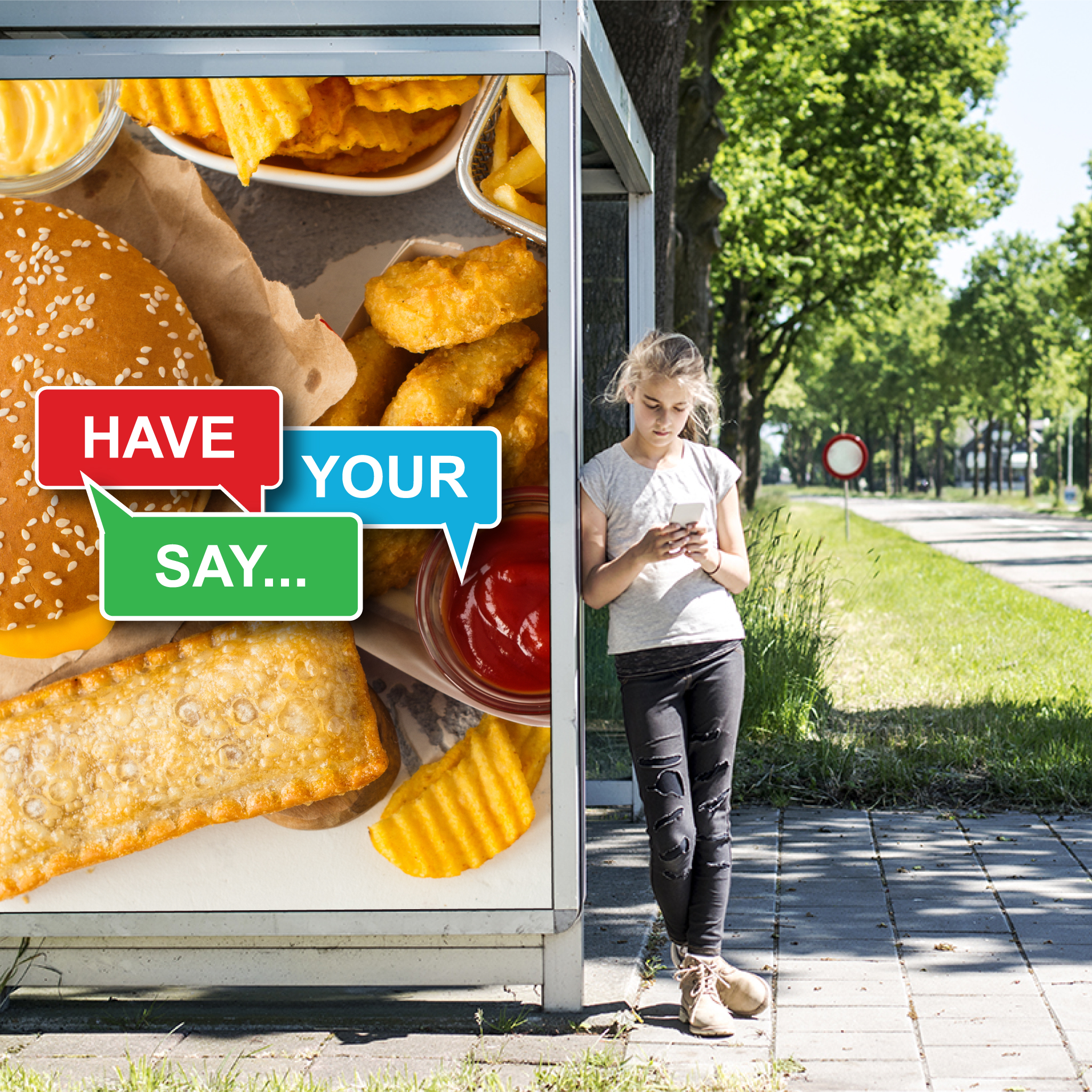 "Image showing ""Have your say"" poster on a bus shelter"