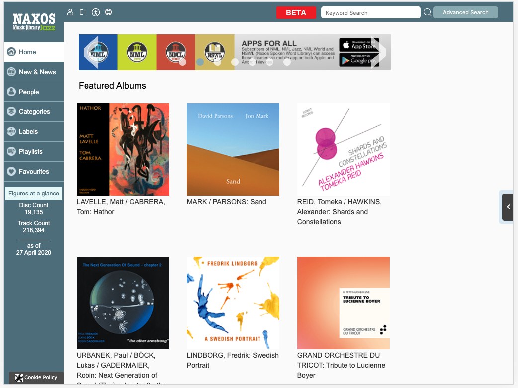 Homepage for Naxos Music Library Jazz