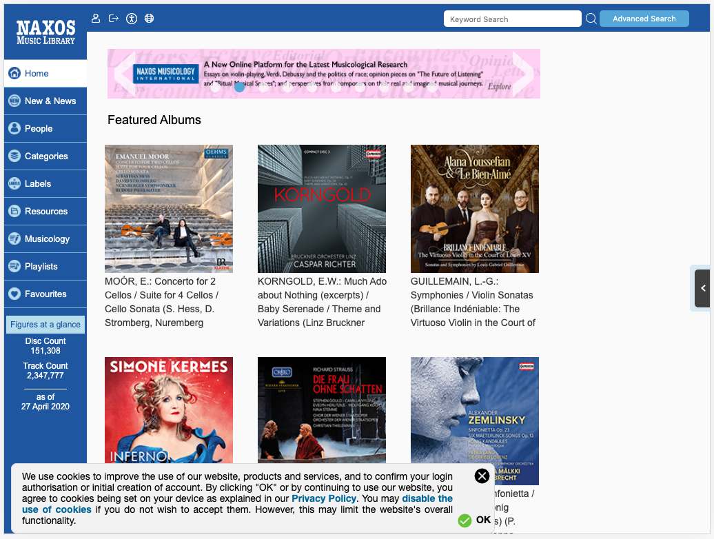 Homepage for Naxos Music Library