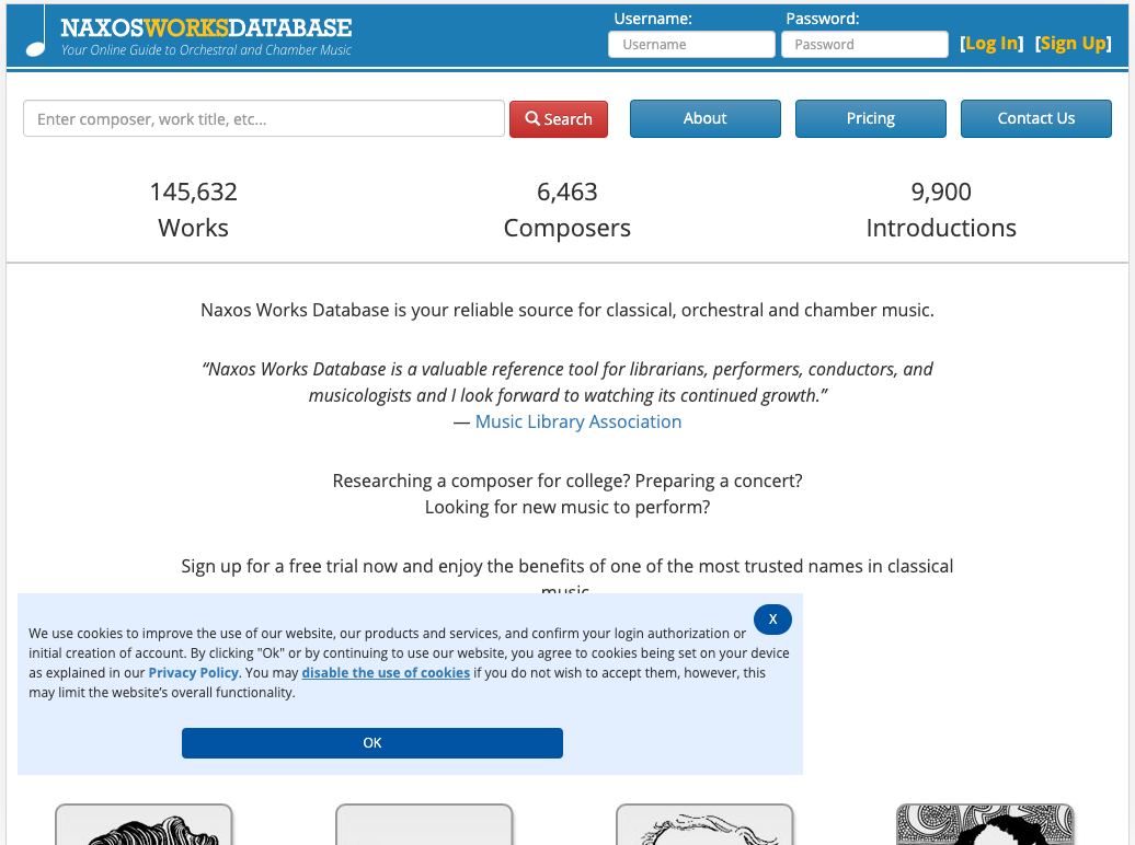 Homepage for Naxos Works Database