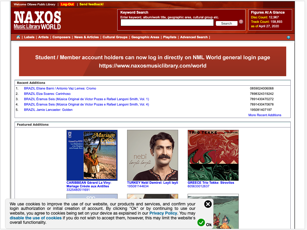 Homepage for Naxos Music Library World