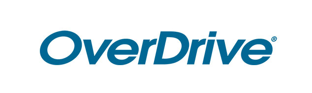 The word OverDrive is written in blue on a white background./ Le mot OverDrive ércit en bleu sur un fond blanc.