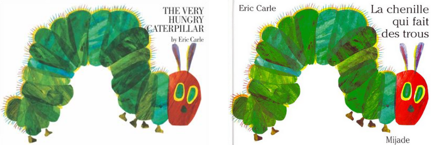 Green caterpillar on the cover of Carle's book The very hungry caterpillar /Chenille verte sur la couverture du livre de Carle intitulé La chenille qui fait des trous