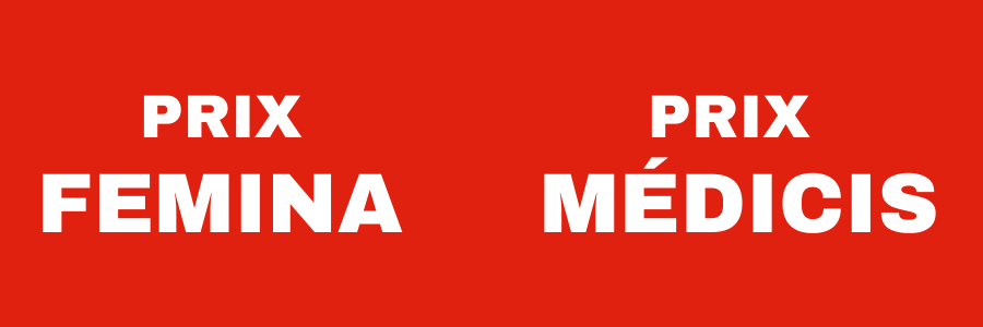 white on red writing: Prix Femina (on the right), Prix Médicis (on the left)