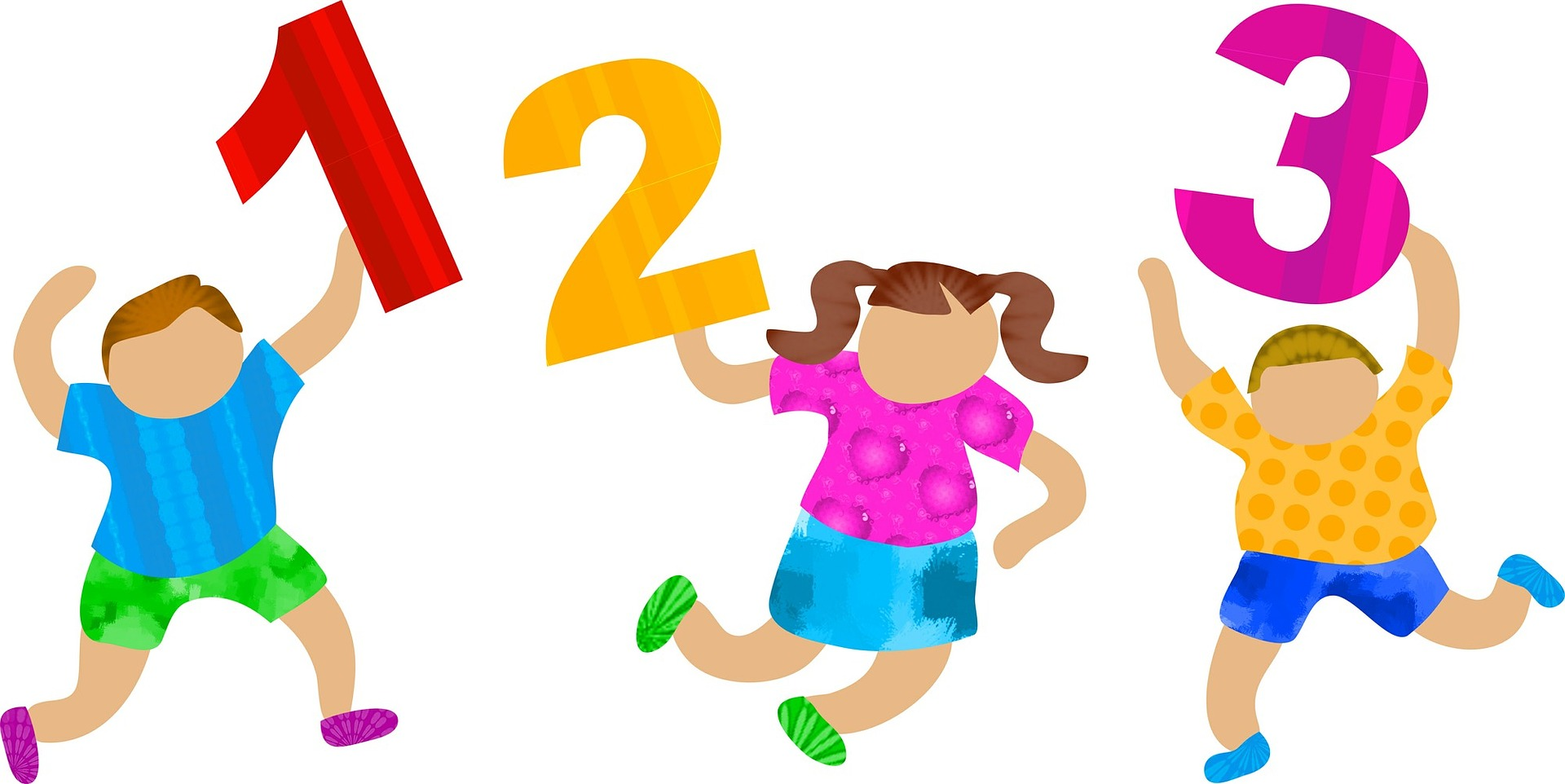 Clipart of three children playing or dancing, holding aloft the numbers 1, 2, and 3.
