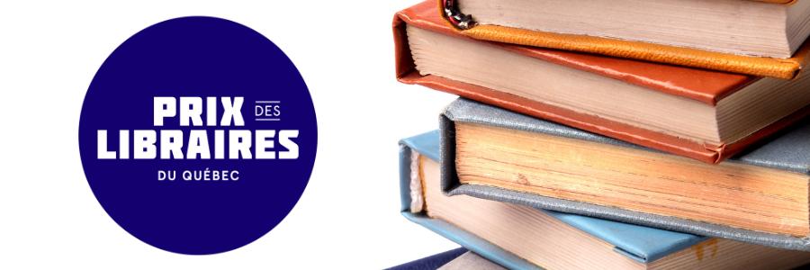 Logo of Prix des libraires du Québec with a pile of books