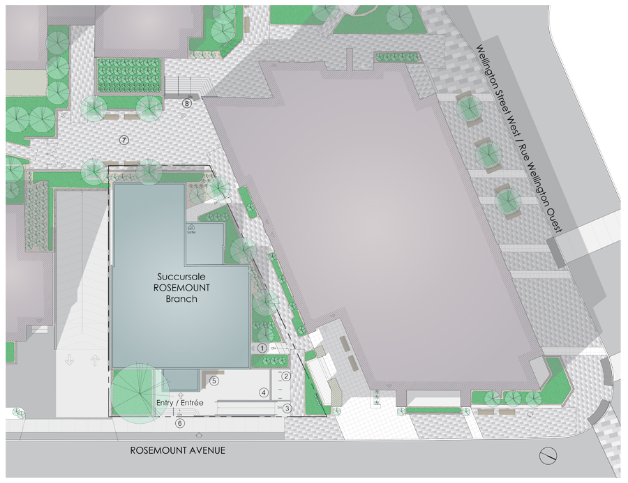 Proposed site plan, see legend below