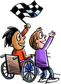 Cartoon of two cheering boys, one in a wheelchair holding a checkered flag.