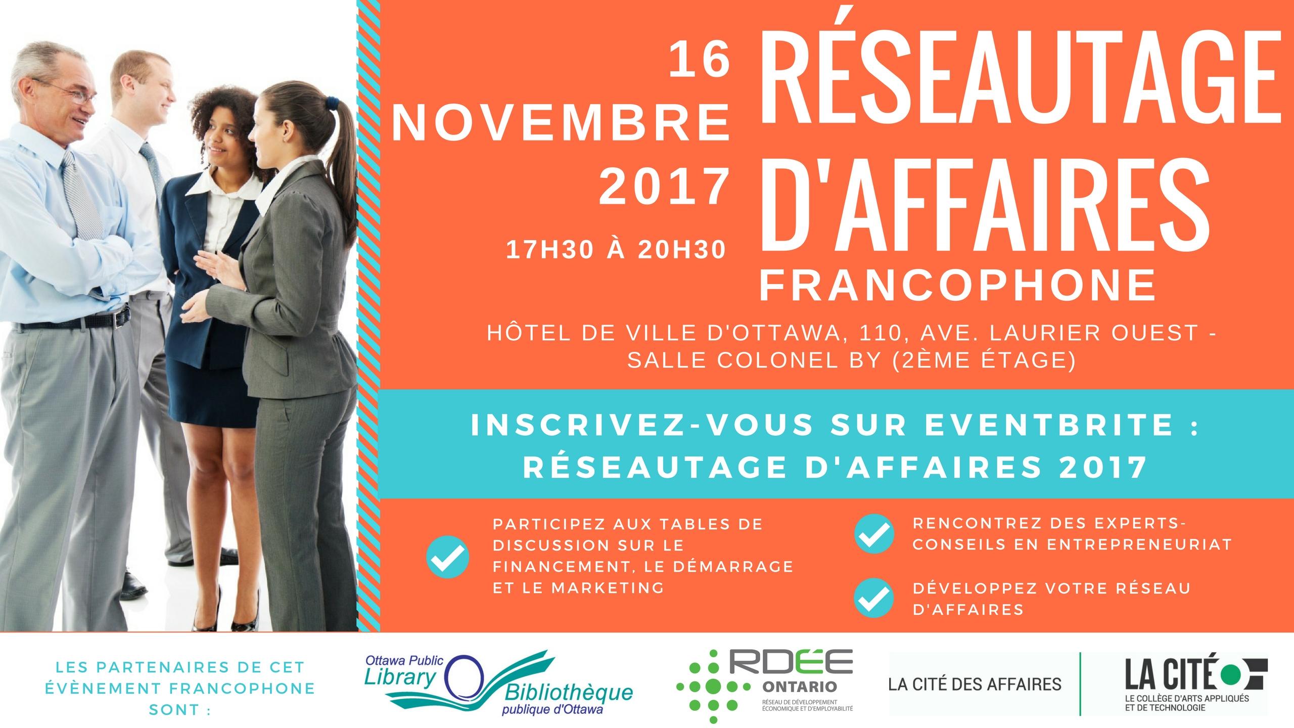Banner with Réseautage d'affaires event information