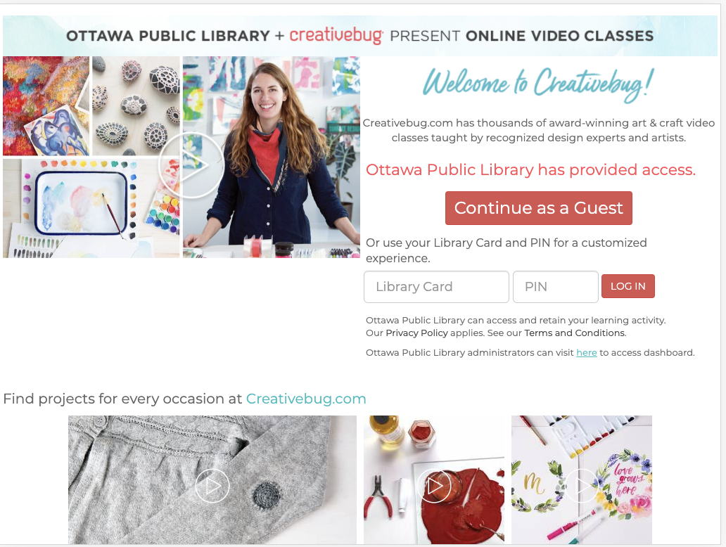 Homepage of the Creative Bug website, showing a smiling woman next to images of crafting ideas.