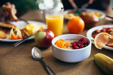 Photograph of breakfast scene with a bowl of cereal