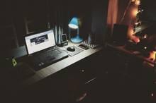 Photo of laptop at night