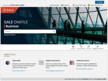 Homepage for Gale OneFile: Business