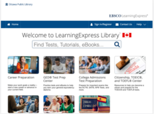 Homepage for Learning Express Library