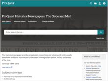 Homepage for Globe and Mail - ProQuest Historical Newspapers (1844-2016)