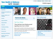 Screenshot of Teen Health and Wellness homepage