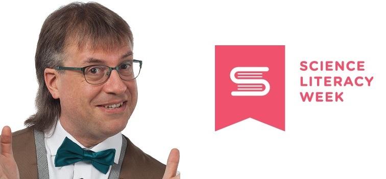 photo of presenter, plus logo of Science Literacy Week