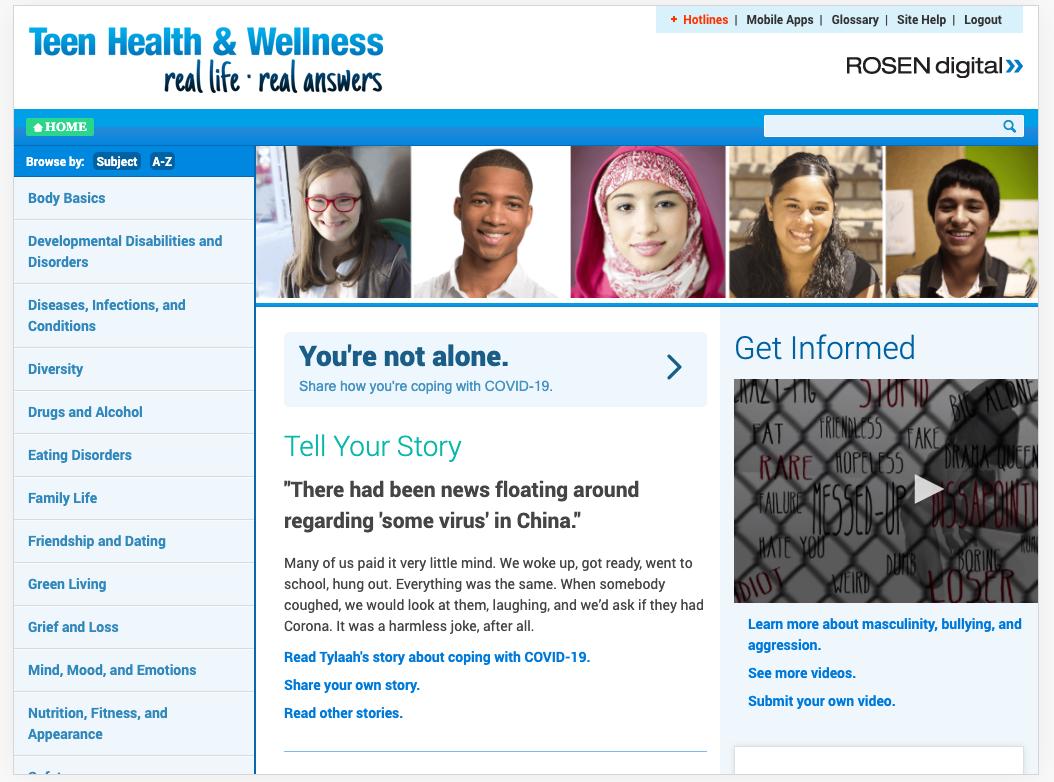 Teen Health and Wellness homepage