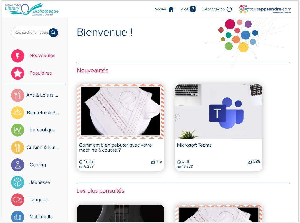 Homepage for Toutapprendre