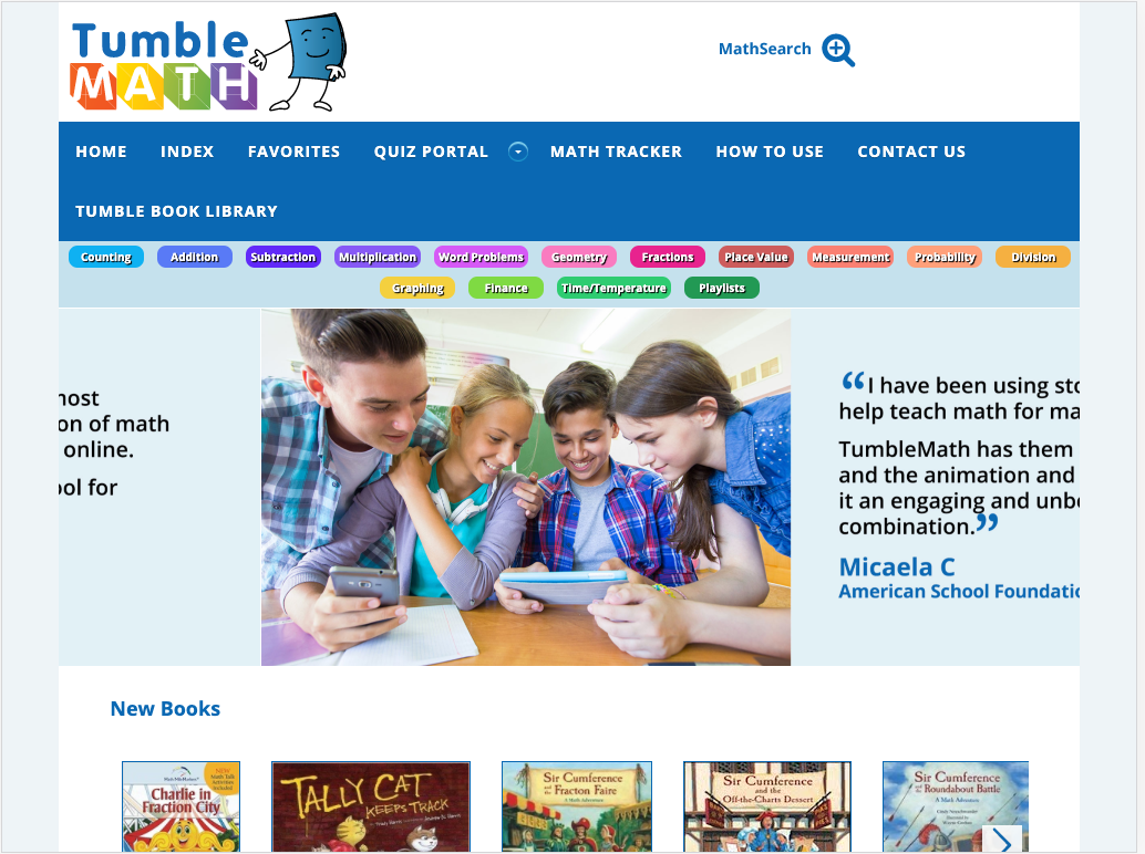 Homepage for TumbleMath