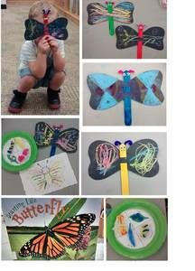 Butterfly craft, child holding craft