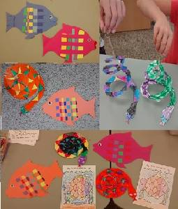 Paper fish with weaving and paper snakes, bright colours, many