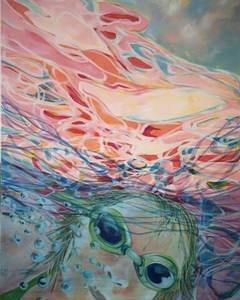 painting of girl swimming underwater, by artist Bonnie McQuillan