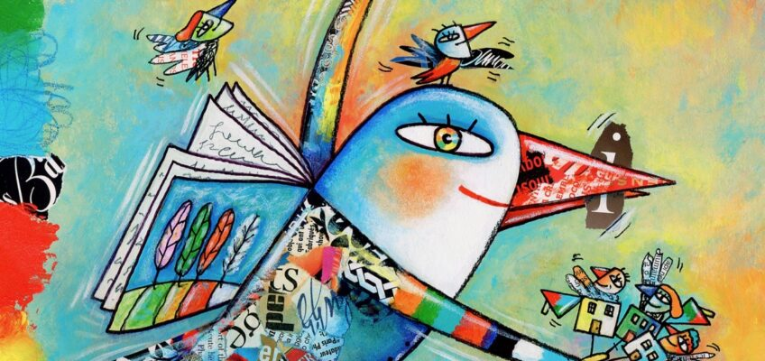 Illustration by Béha of a person-bird with a book instead of wings