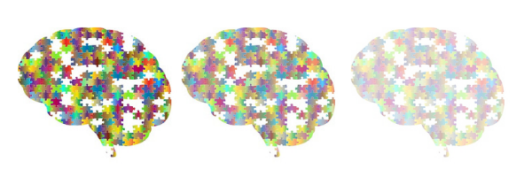 3 brains made of puzzle pieces